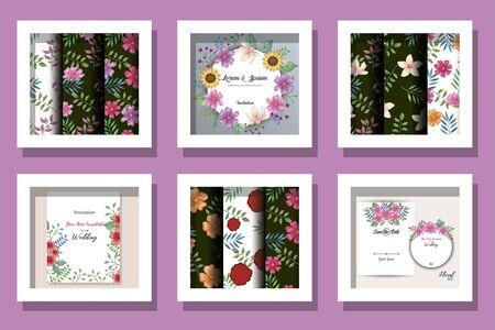 bundle of cards invitation with flowers decoration vector illustration design