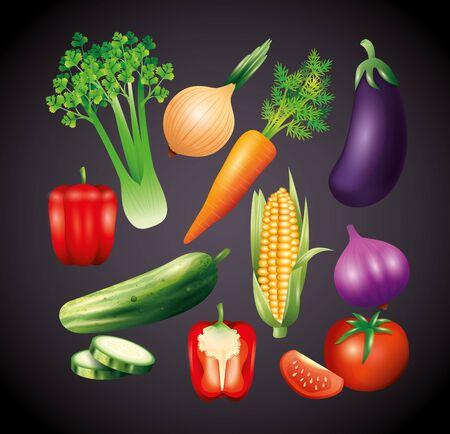 fresh organic vegetables, healthy food, healthy lifestyle or diet on black background vector illustration design Illustration