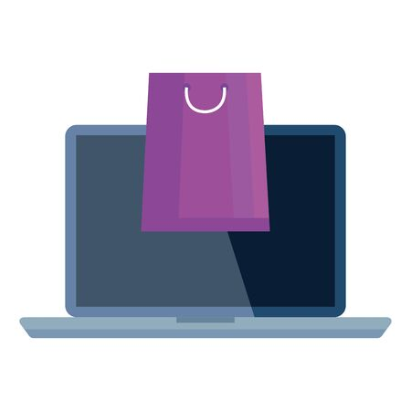 bag and laptop design of Shopping commerce and market theme Vector illustration