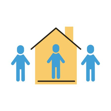 group of humans distance social with house flat style vector illustration design Ilustração
