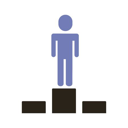 businessman figure in podium flat style icon vector illustration design