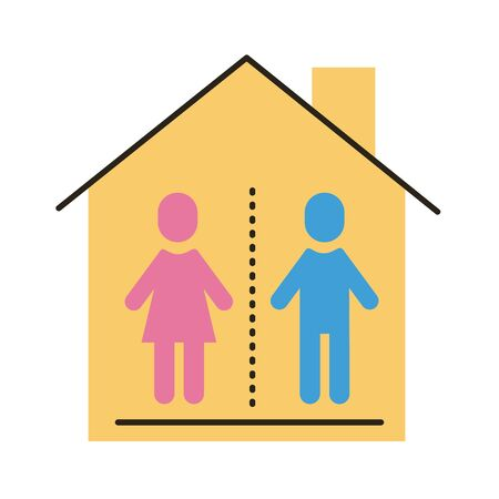 humans inside house distance social flat style vector illustration design