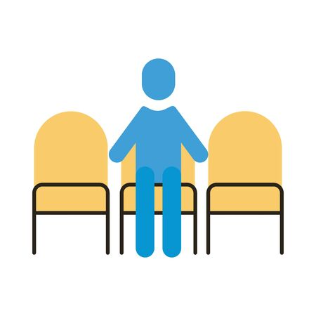 human figure in chairs distance social flat style vector illustration design