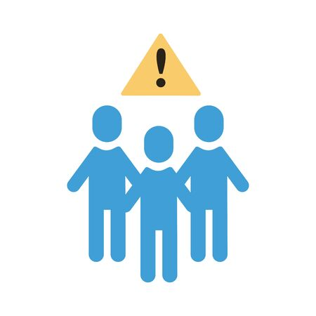 group of humans with alert signal distance social flat style vector illustration design