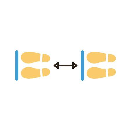 steps prints social distance flat style vector illustration design Ilustração