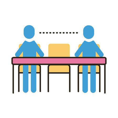 humans distance social in dinner table flat style icon vector illustration design Ilustração