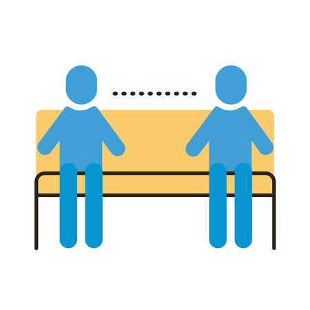 humans silhouettes in park chair distance social flat style vector illustration design Ilustração