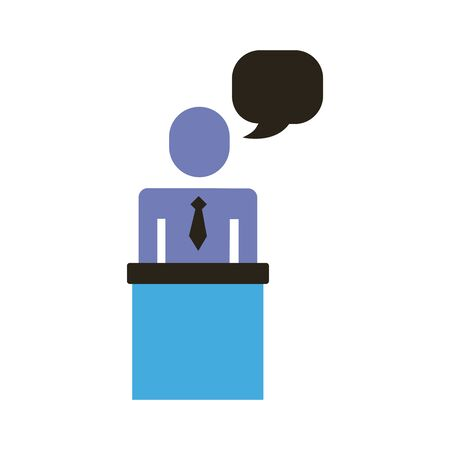 businessman figure with speech bubble in stage flat style icon vector illustration design Ilustração