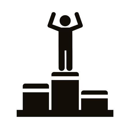winner champion in podium avatar figure silhouette style vector illustration design