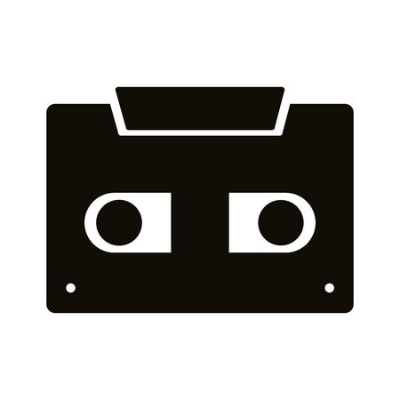 cassette music record silhouette style icon vector illustration design