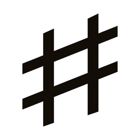 hashtag symbol silhouette style icon vector illustration design