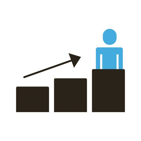 businessman figure with statistics bars and arrow up flat style icon vector illustration design