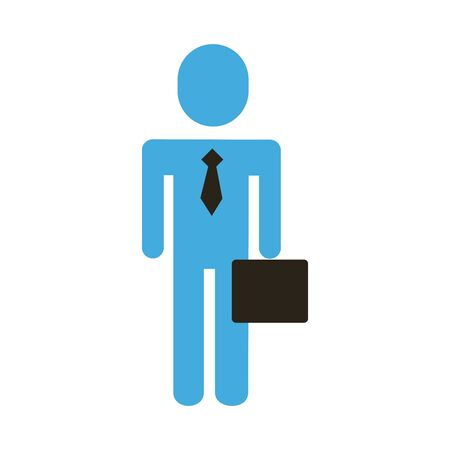 businessman figure with portfolio flat style icon vector illustration design