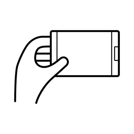 hand using smartphone device line style icon vector illustration design