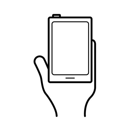 hand using smartphone device line style icon vector illustration design