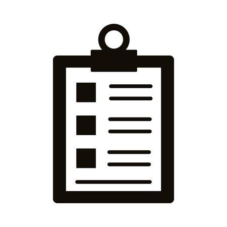 checklist clipboard silhouette style icon vector illustration design Ilustracja