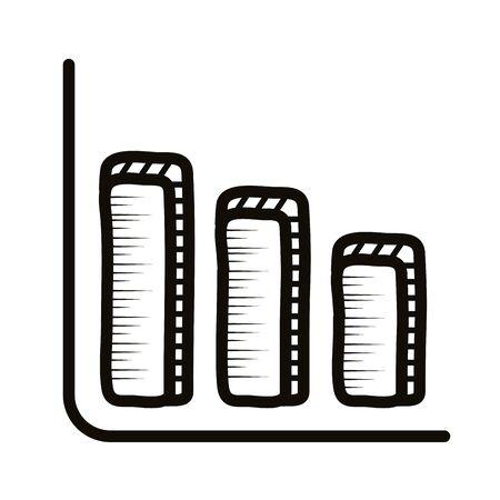 infographic statistics bars doodle line style icon vector illustration design 矢量图像
