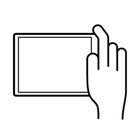 hand using tablet device line style icon vector illustration design