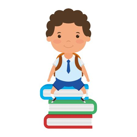 cute little student boy seated in books character vector illustration design Stock Illustratie