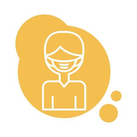 man using face mask accessory block style vector illustration design 일러스트