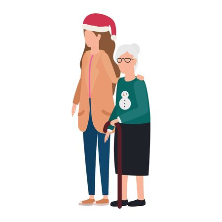 cute grandmother with daughter using christmas hat vector illustration design