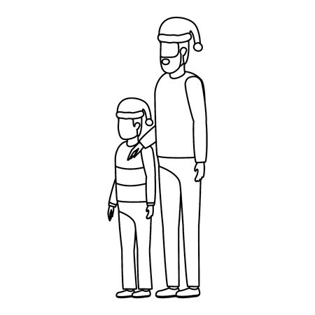 father and son with christmas hats characters vector illustration design Stock Illustratie