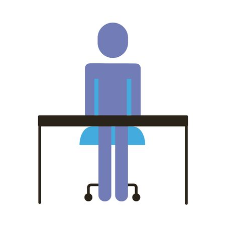businessman figure in desk flat style icon vector illustration design Ilustração