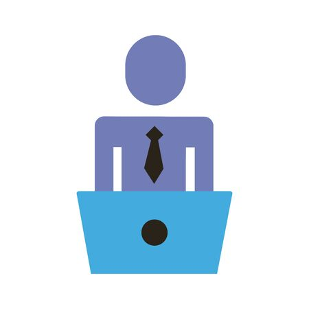 businessman figure working in laptop flat style icon vector illustration design Ilustração