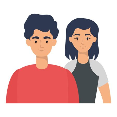 young lovers couple avatars characters vector illustration design  イラスト・ベクター素材