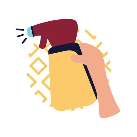 Hand holding spray bottle flat style icon design, Cleaning service wash home hygiene equipment domestic interior housework and housekeeping theme Vector illustration 矢量图像