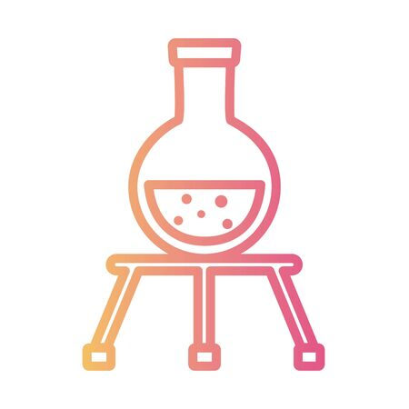 medical tube test in tripod laboratory linear gradient style icon vector illustration design
