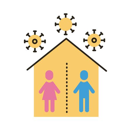 humans inside house with covid particles distance social flat style vector illustration design