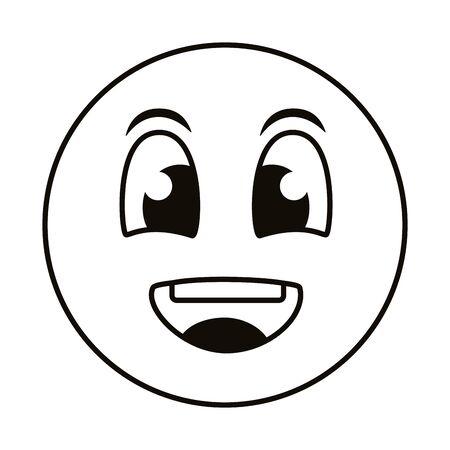 happy emoji face line style icon vector illustration design Vettoriali