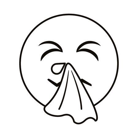emoji with cold sick line style vector illustration design