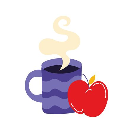 coffee cup drink with apple fresh fruit vector illustration design