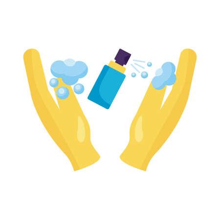 hands using disinfectant spray bottle product detaild style vector illustration Stock Illustratie