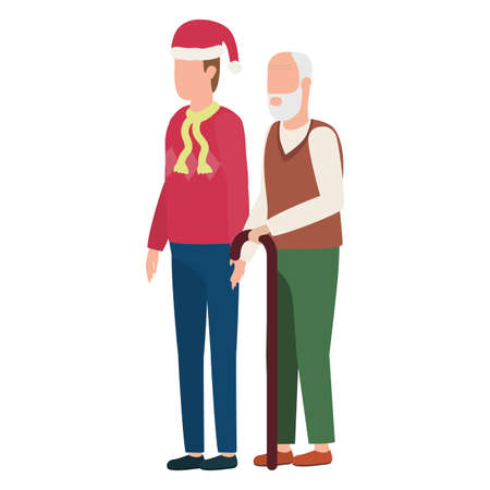 cute grandfather with young son using christmas hat vector illustration design  イラスト・ベクター素材