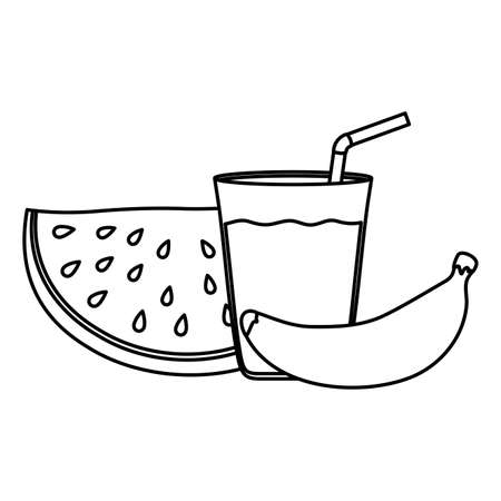 fresh watermelon fruit and banana with juice vector illustration design