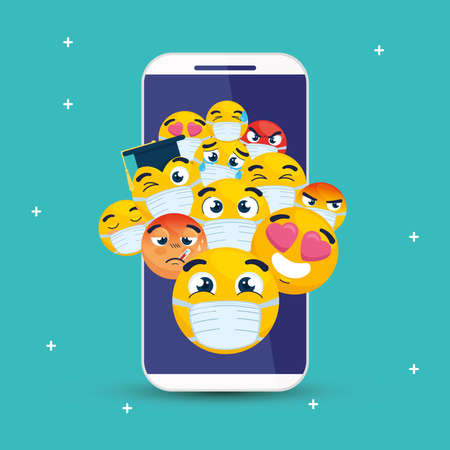 smartphone with set emojis, yellow faces in smartphone device vector illustration design
