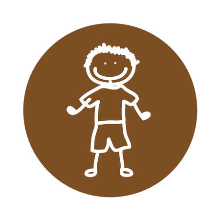 cute kid drawing isolated icon vector illustration design Vettoriali