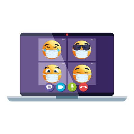 emojis wearing medical mask in page on video call, yellow faces using white surgical mask in laptop computer vector illustration design Ilustrace