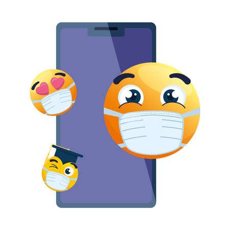 smartphone with emojis wearing medical mask on white background vector illustration design