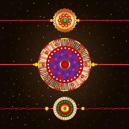 set of rakhi, raksha bandhan, hindu celebration india festival culture tradition vector illustration design