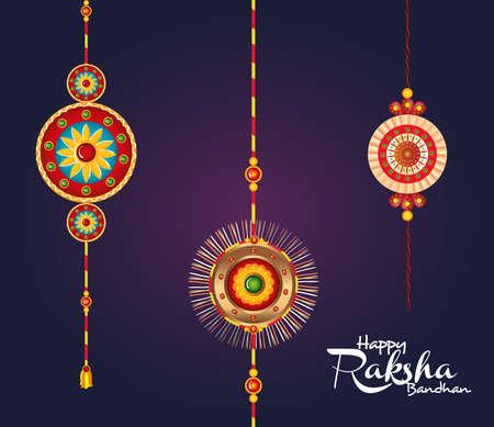 greeting card with decorative set of rakhi hanging for raksha bandhan, indian festival for brother and sister bonding celebration vector illustration design
