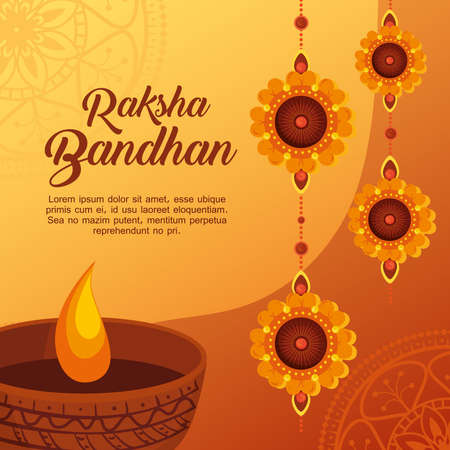 greeting card with decorative set of rakhi hanging and candle light for raksha bandhan, indian festival for brother and sister bonding celebration vector illustration design