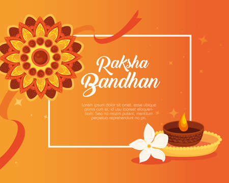greeting card with decorative rakhi and candle light for raksha bandhan, indian festival for brother and sister bonding celebration vector illustration design