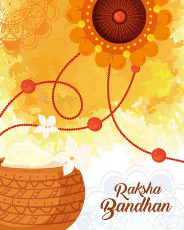 greeting card with decorative rakhi and holy powder for raksha bandhan, indian festival for brother and sister bonding celebration vector illustration design