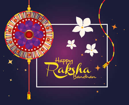 greeting card with decorative rakhi and square frame for raksha bandhan, indian festival for brother and sister bonding celebration vector illustration design