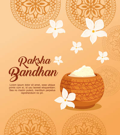 greeting card with decorative holy powder for raksha bandhan, indian festival for brother and sister bonding celebration vector illustration design 일러스트