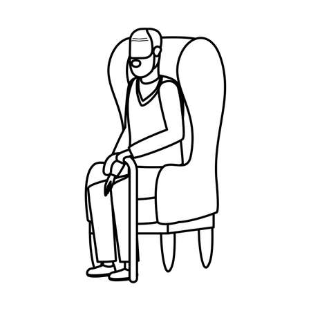 cute grandfather seated in sofa character vector illustration design
